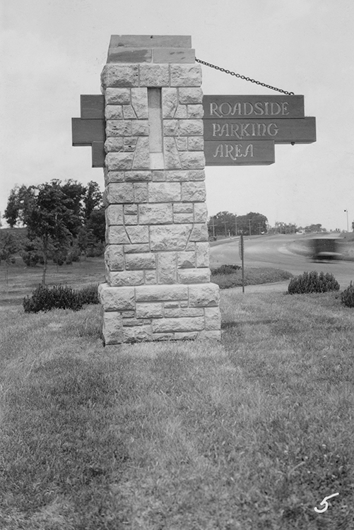 Signpost at Blazer Park on Lilac Way, black and white photo