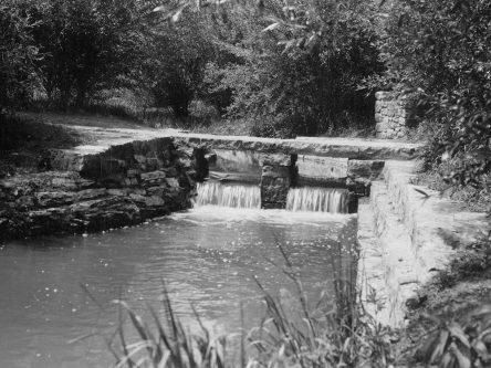 Blazer Park, 1939. Waterfall and landscaping. Photo: MnDOT.