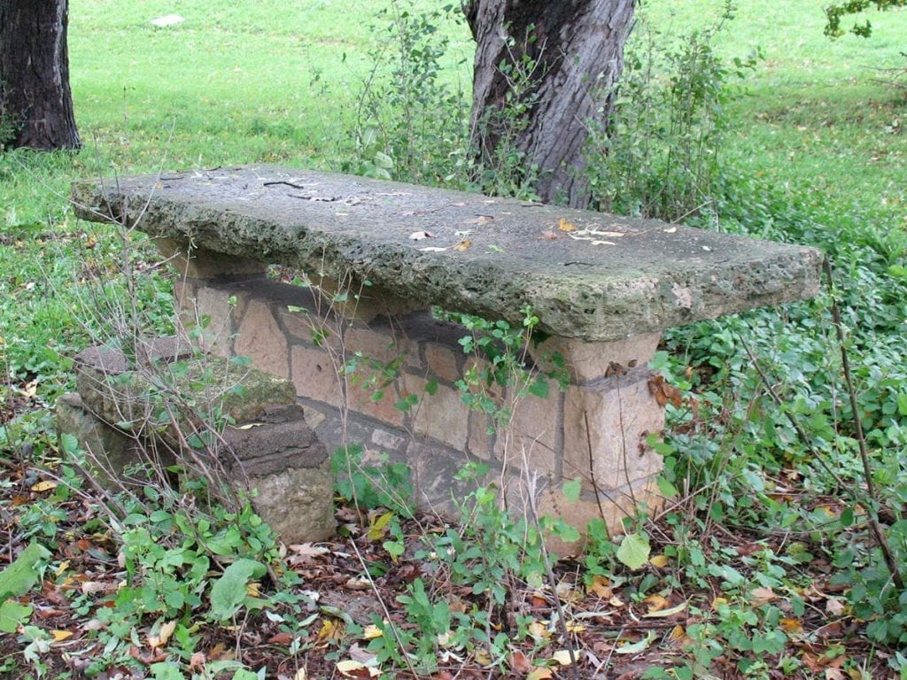 Limestone table at the original Lilac Park on Highway 100 and Minnetonka Boulevard