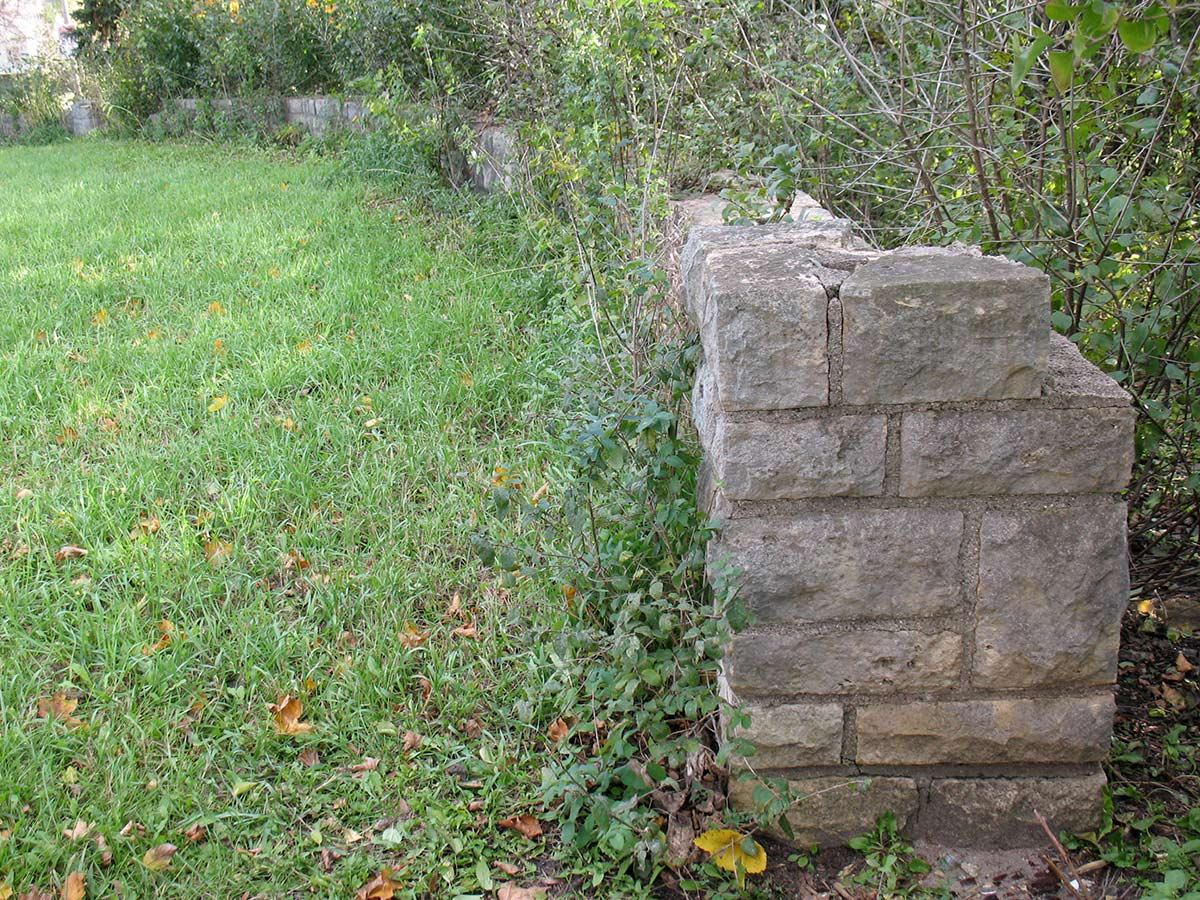 Limestone wall at the original Lilac Park on Highway 100 and Minnetonka Boulevard