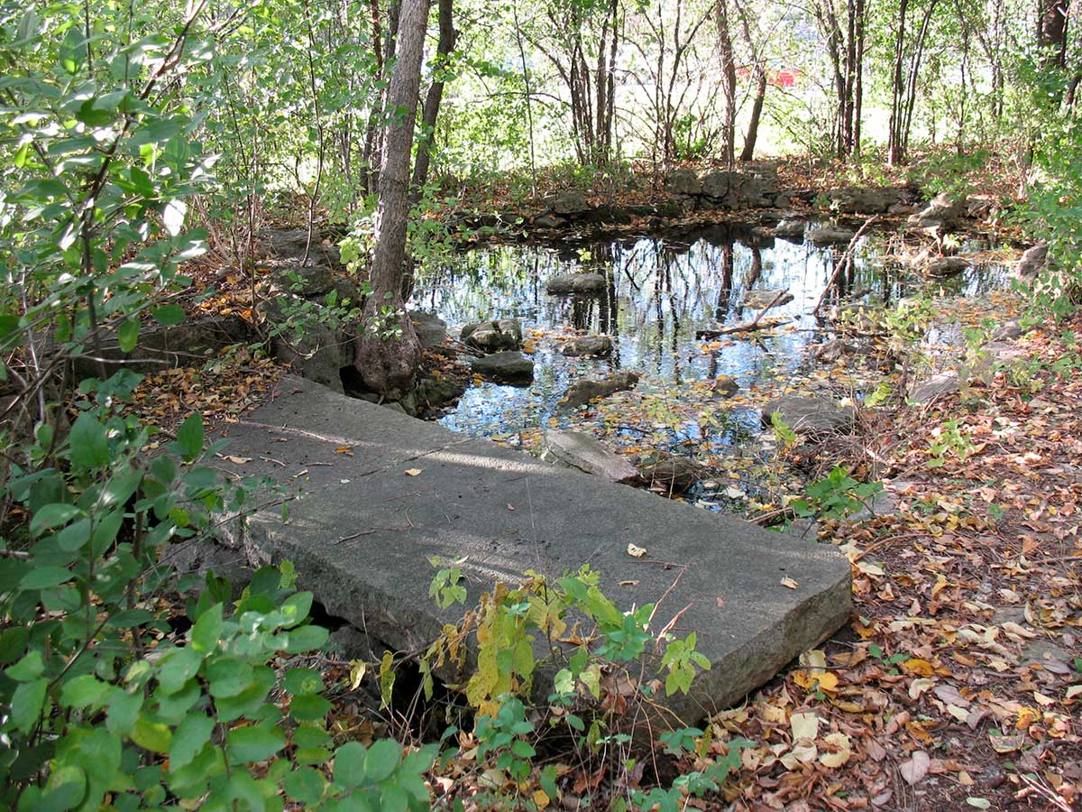 Limestone walkway at the original Lilac Park on Highway 100 and Minnetonka Boulevard