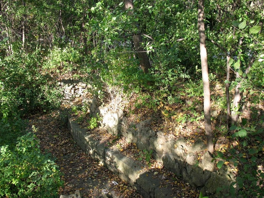 Limestone bench at the original Lilac Park on Highway 100 and Minnetonka Boulevard